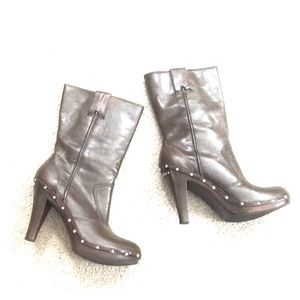 ✨ Michael Kors brown leather heeled boots sz 10  ✨